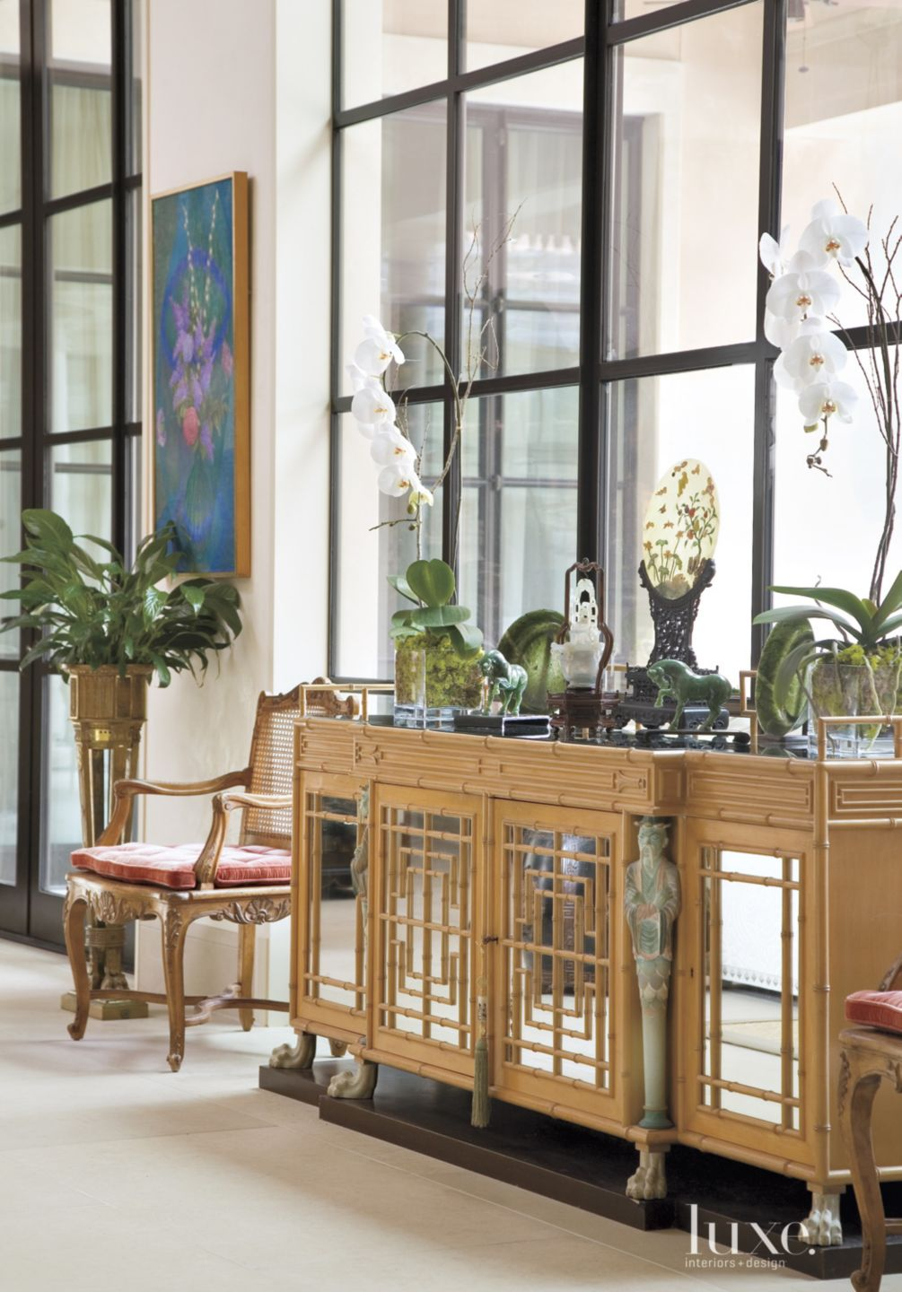 Traditional White Gallery with Bamboo Console