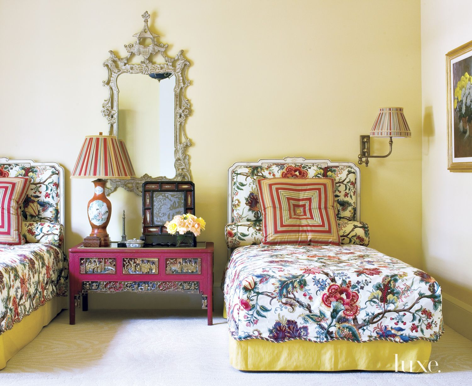 Traditional Yellow Bedroom with Striped Lampshades