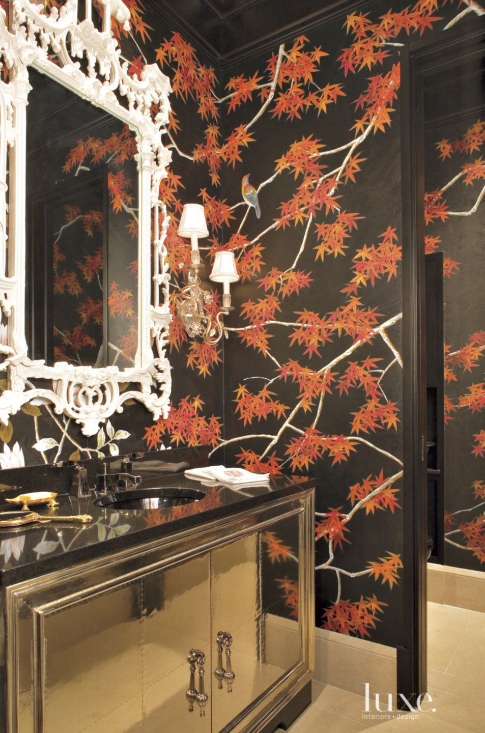 Traditional Black Powder Room with Chinese Silk Walls
