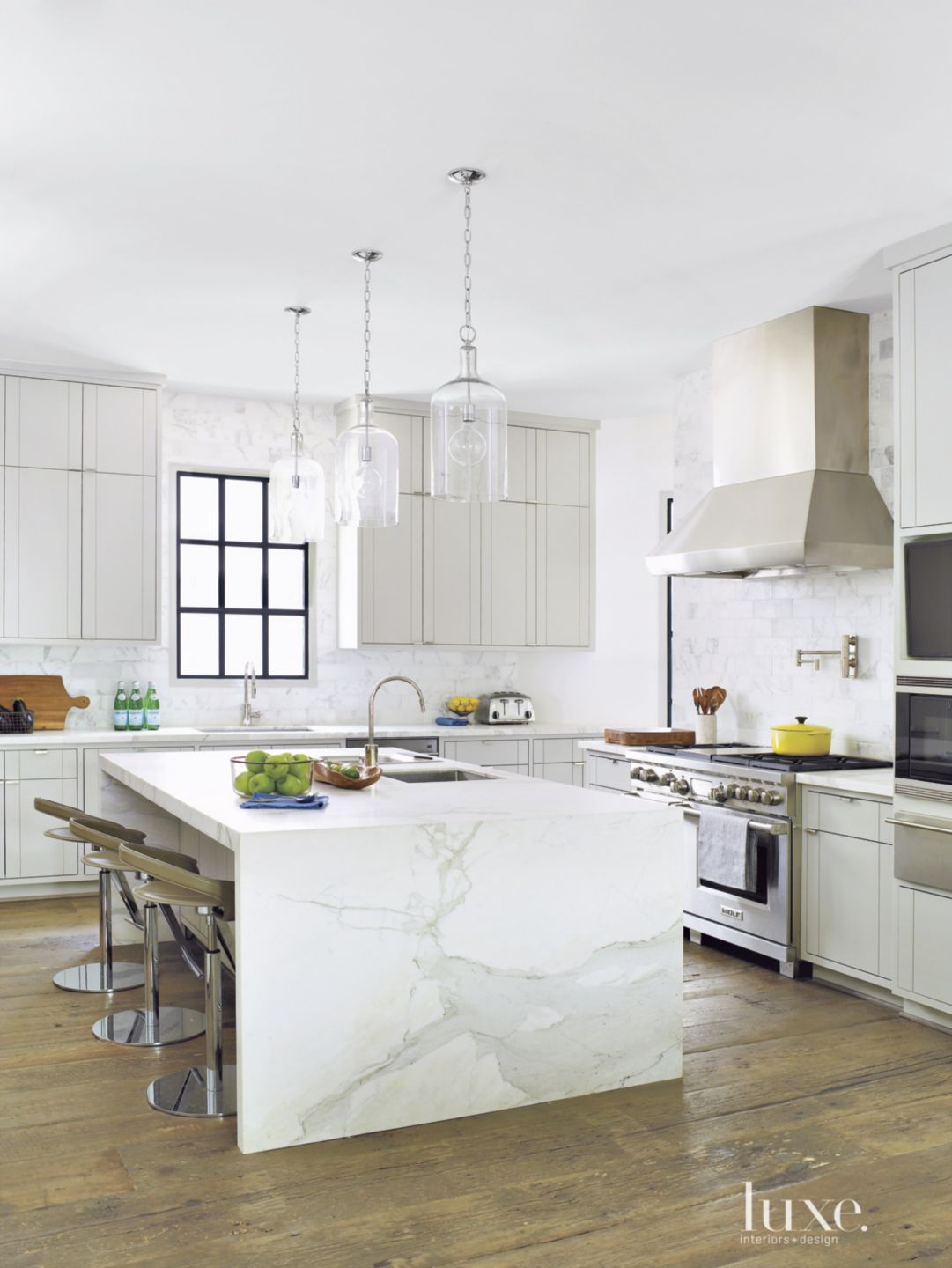 Transitional White Kitchen with Island Faucet
