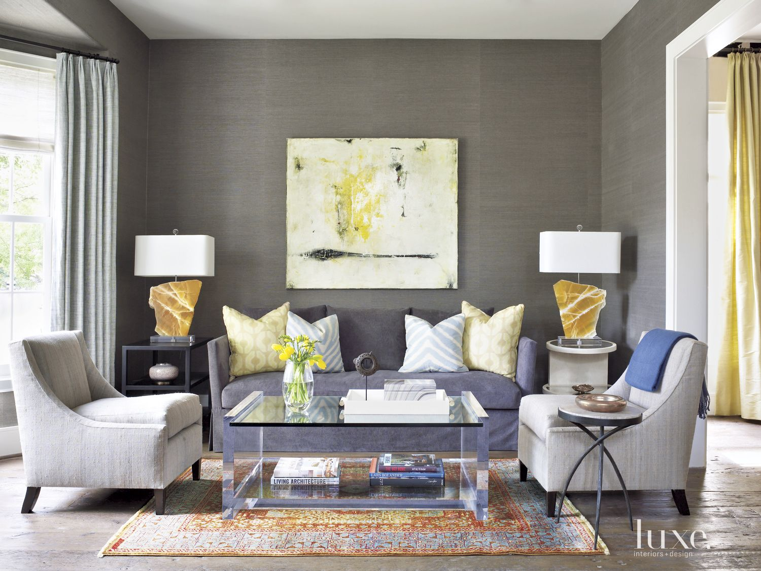 Transitional Brown Living Room with Rock Lamps