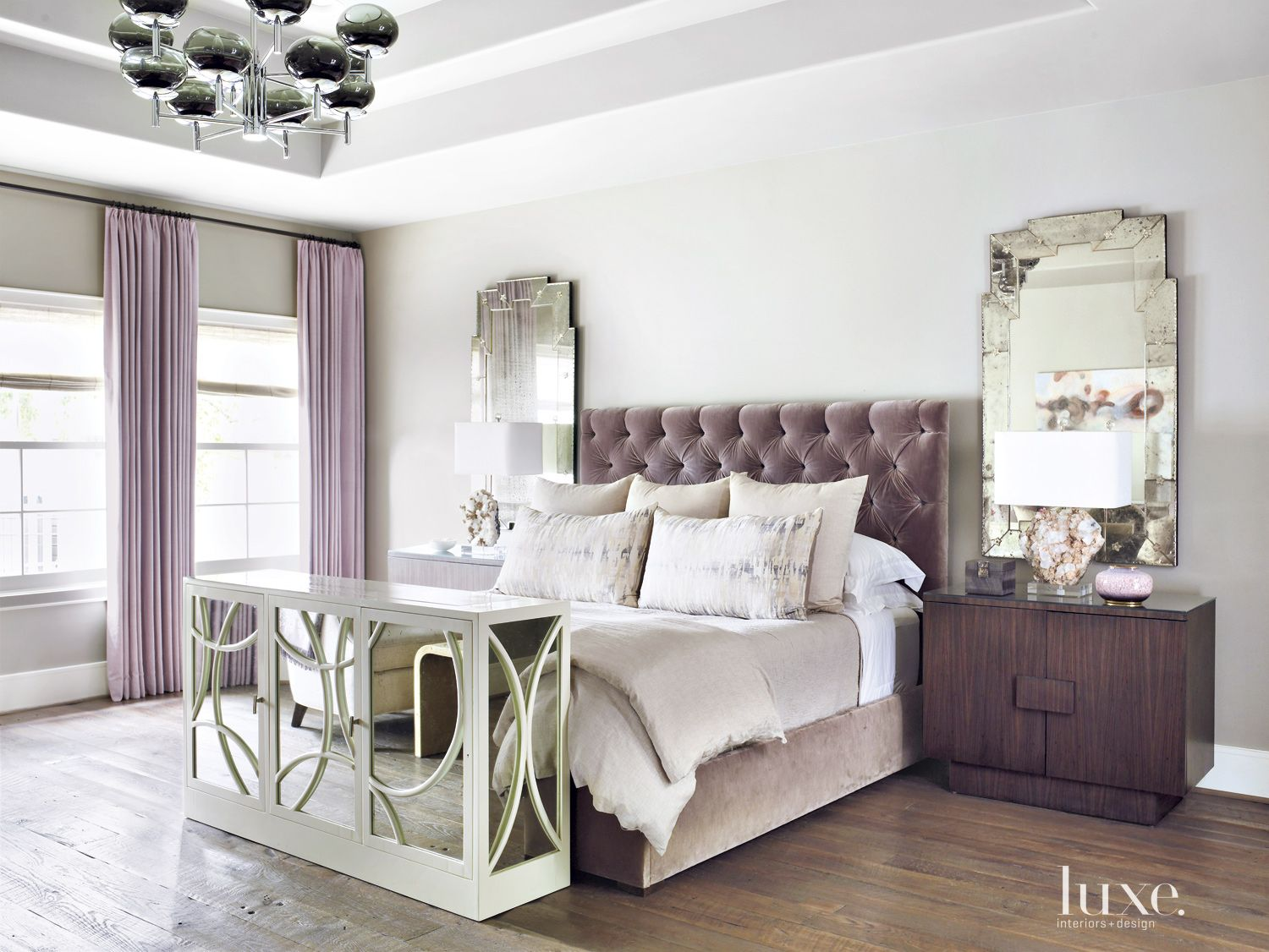 Transitional Purple Bedroom with Antique Mirrors