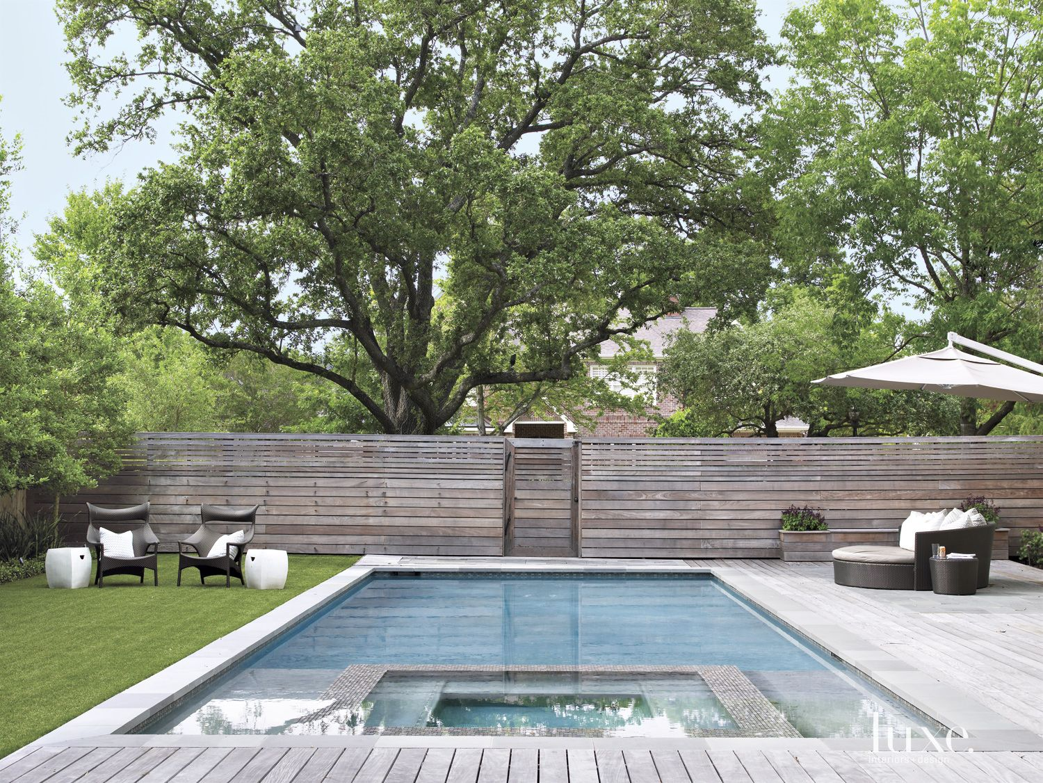 Modern Neutral Poolside with Daybed