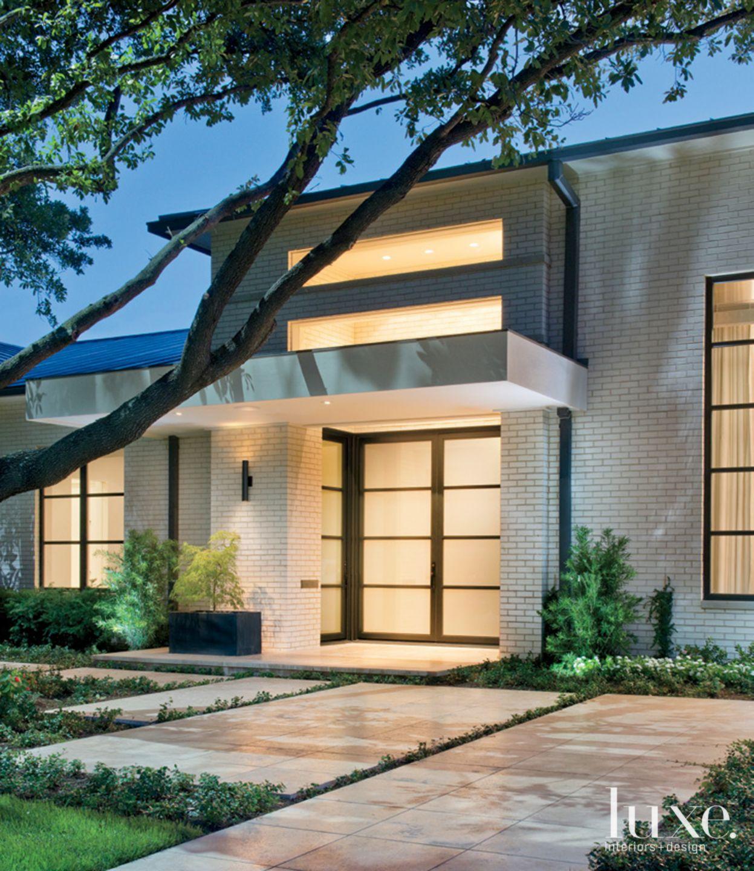Front Door of White Modern Home