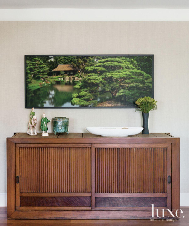 Modern Neutral Foyer with Green Artwork