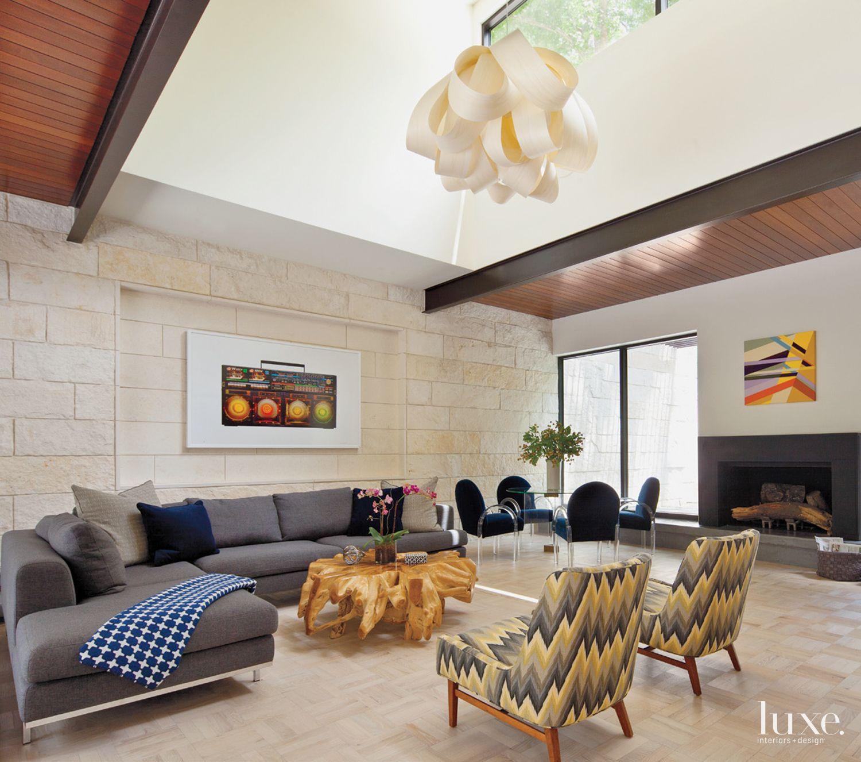 Modern Limestone Family Room