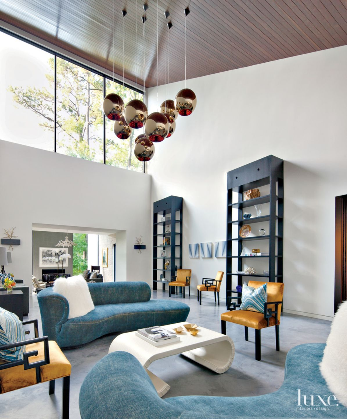 Modern White Double-Height Great Room
