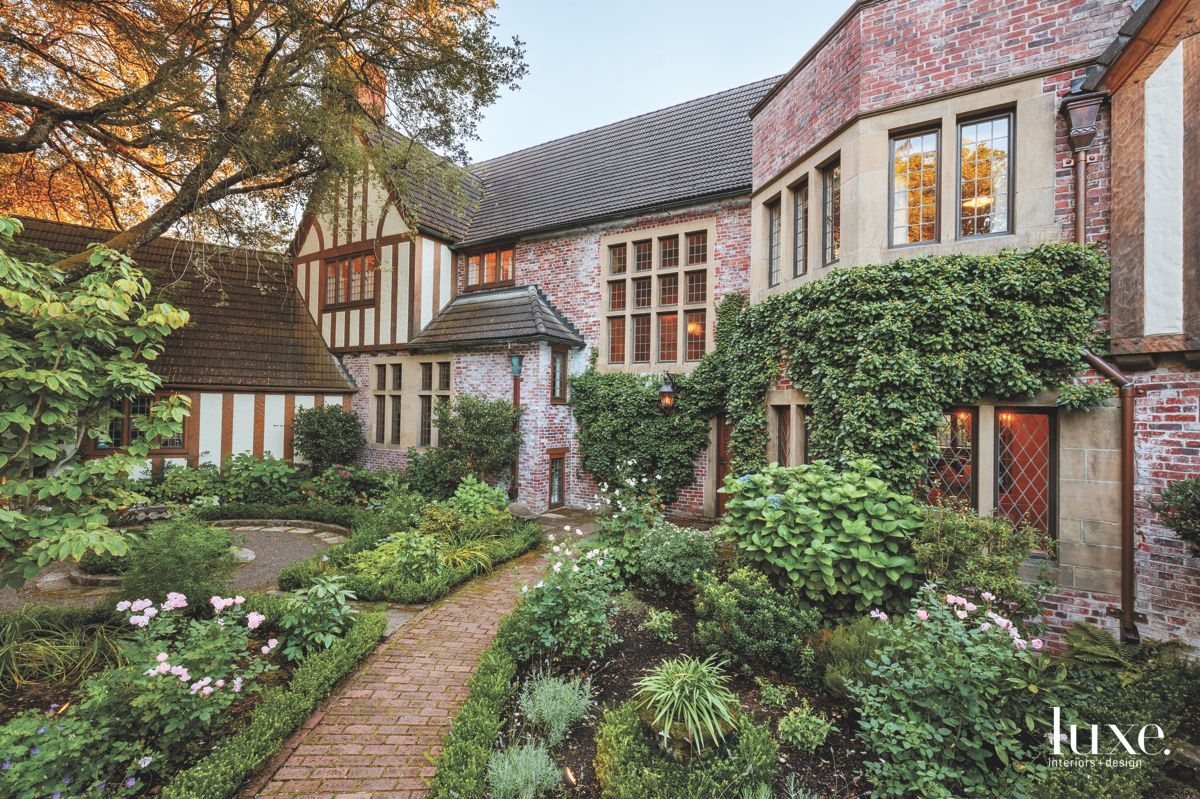 Tudor-Style Architecture with Ivy Growing Up the Walls