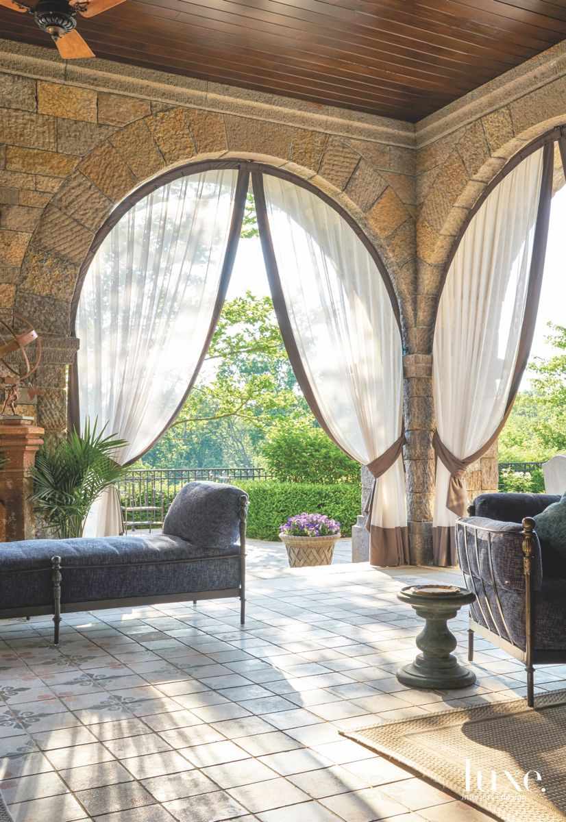 Real Indian Palace Stone Loggia Outdoor Room with Plush Furniture