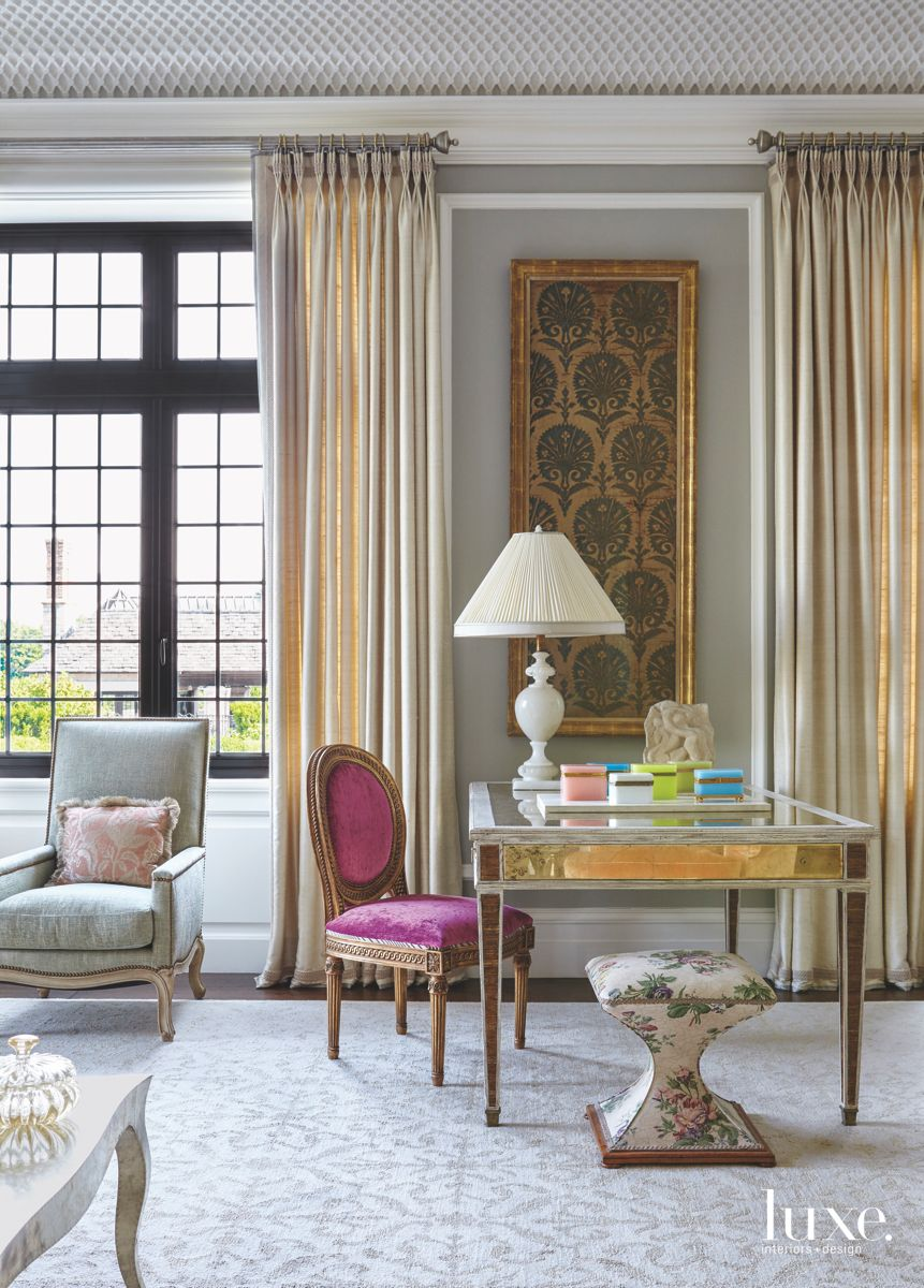 Traditional Pattern Fabric Blue Living Room with Fuschia Chair and Foreign Influence