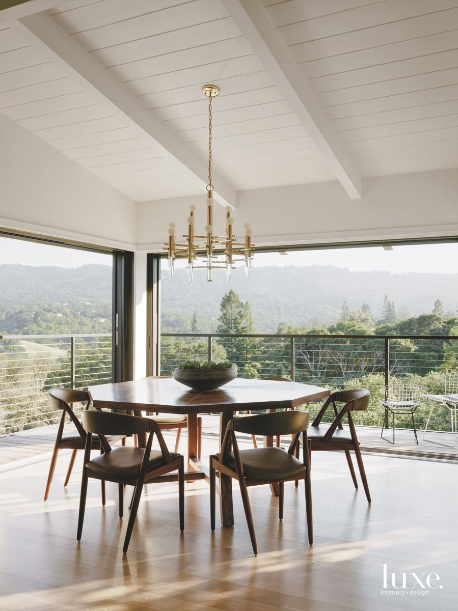 Window Surround with Chandelier Dining Room and Balcony Entrance