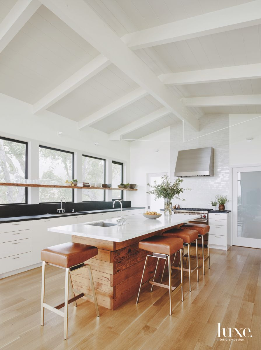 White Contemporary Kitchen with Wooden Island and Leather Barstools