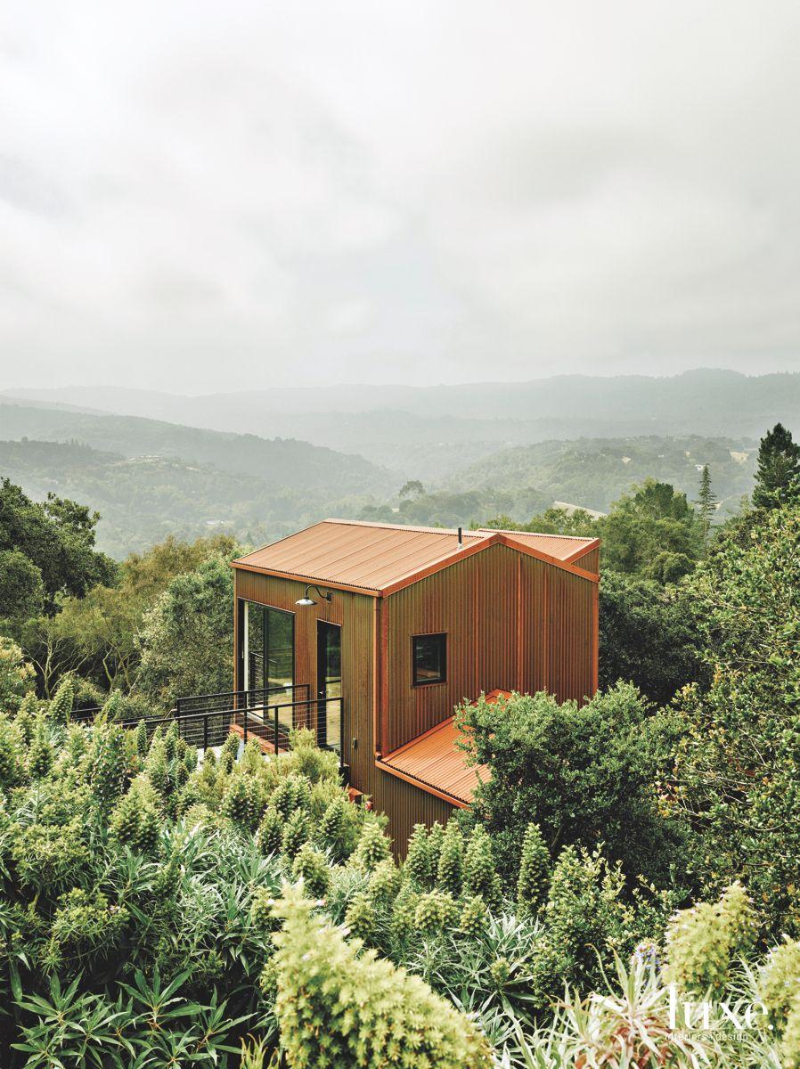 Corrugated Steel Exterior in a Lush Landscape Treescape