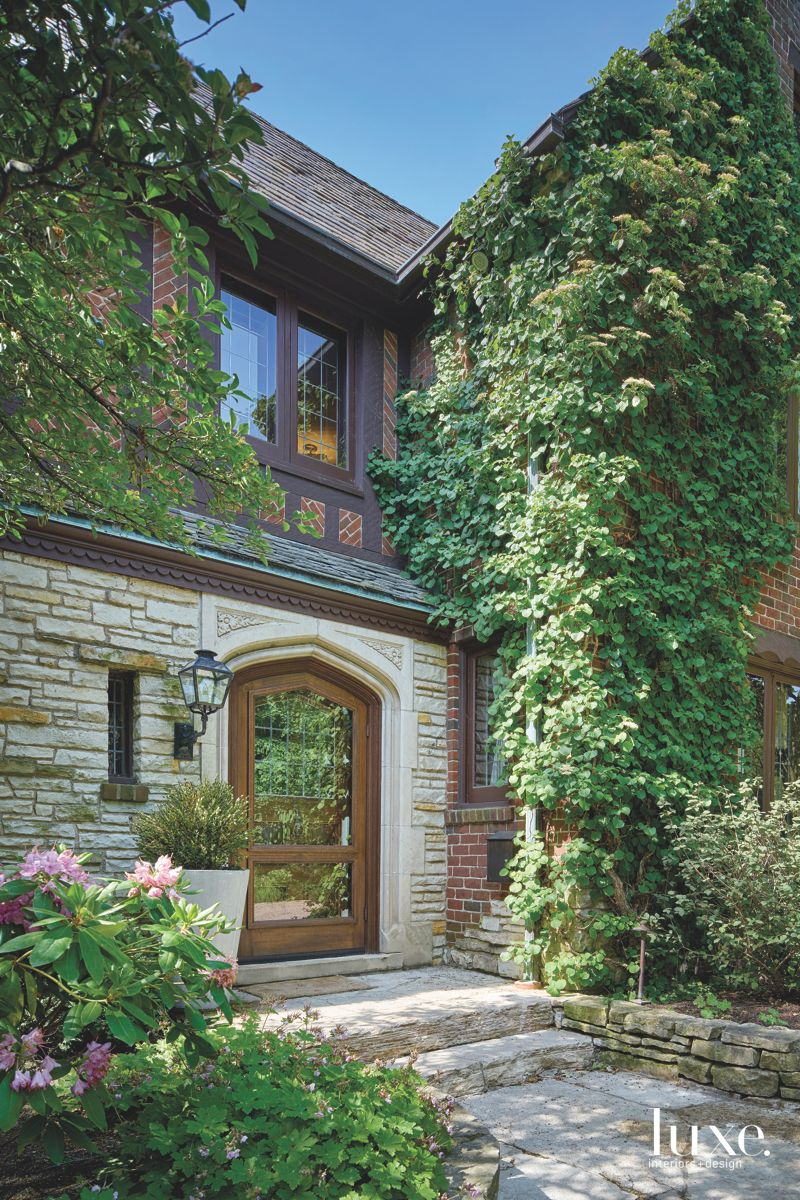 Preserved Chicago Tudor Exterior with Creeping Old Growth Ivy Entrance Walkway