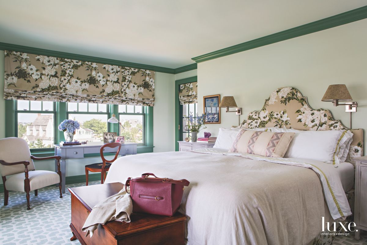 Green and Floral Print Master Bedroom with Green Crown Moulding