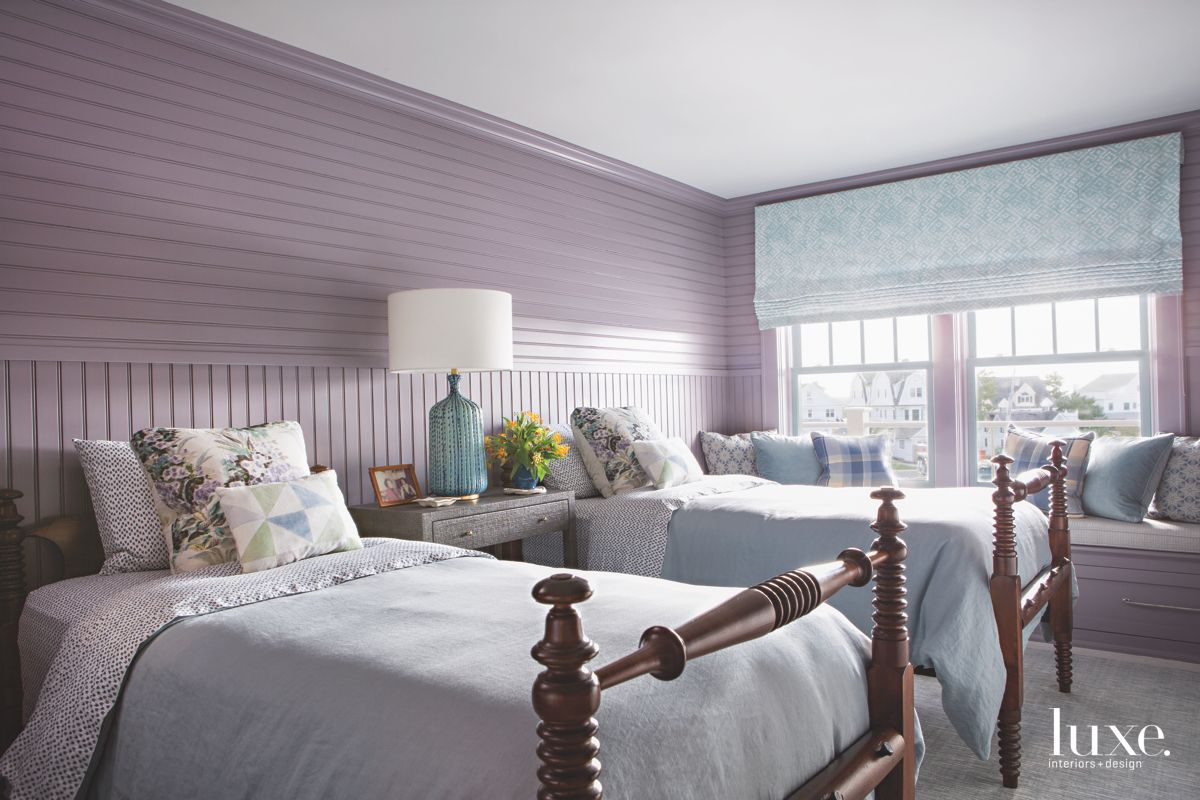 Pastel Purple Siding Bedroom with Blue Shades and Traditional Bed Frames