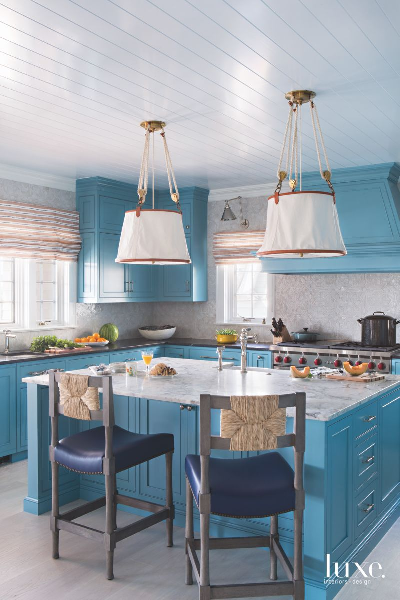 Cerulean Blue Kitchen with Traditional Nautical Lighting and Barstools for the Island