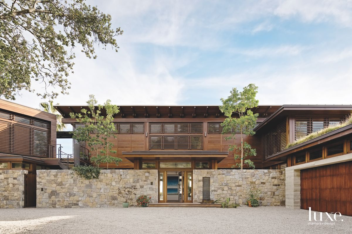 Contemporary Zen Wood Exterior with Stone Gate and Garage