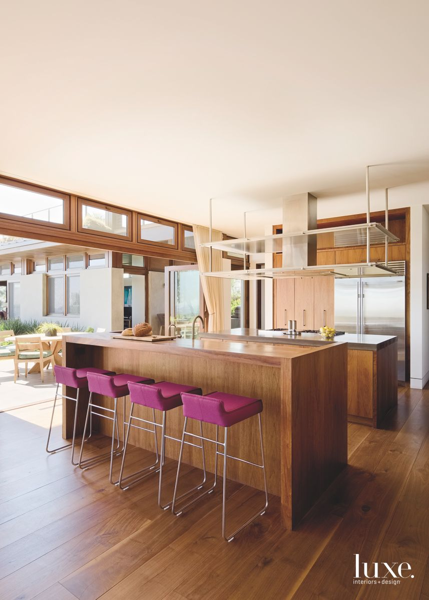 Magenta Bar Stool All Wood Kitchen Opening to the Outdoors