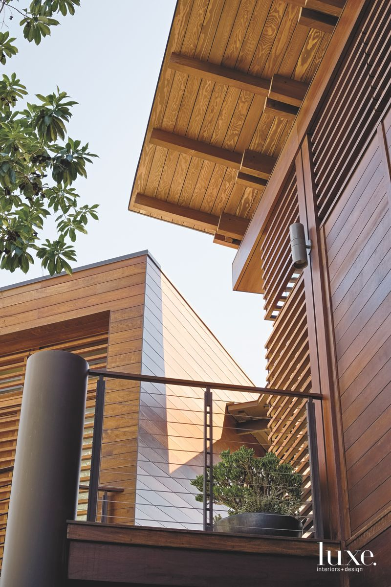 Caddy Corner Wooden Home Exterior View from Below