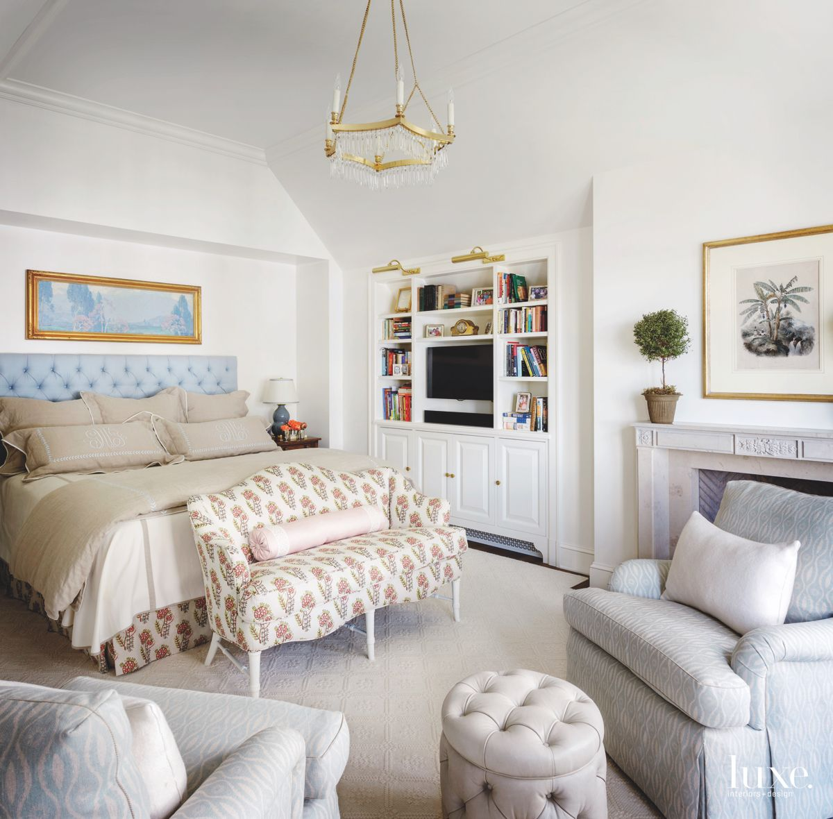 Comfy Master Bedroom with High Ceilings, Seating and Chandelier