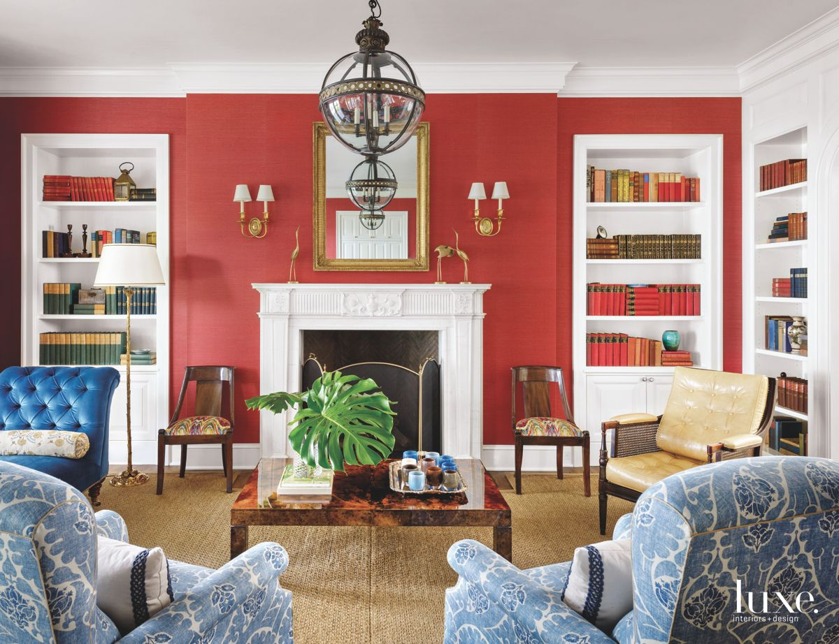 Bright Red Living Room Filled with Antiques