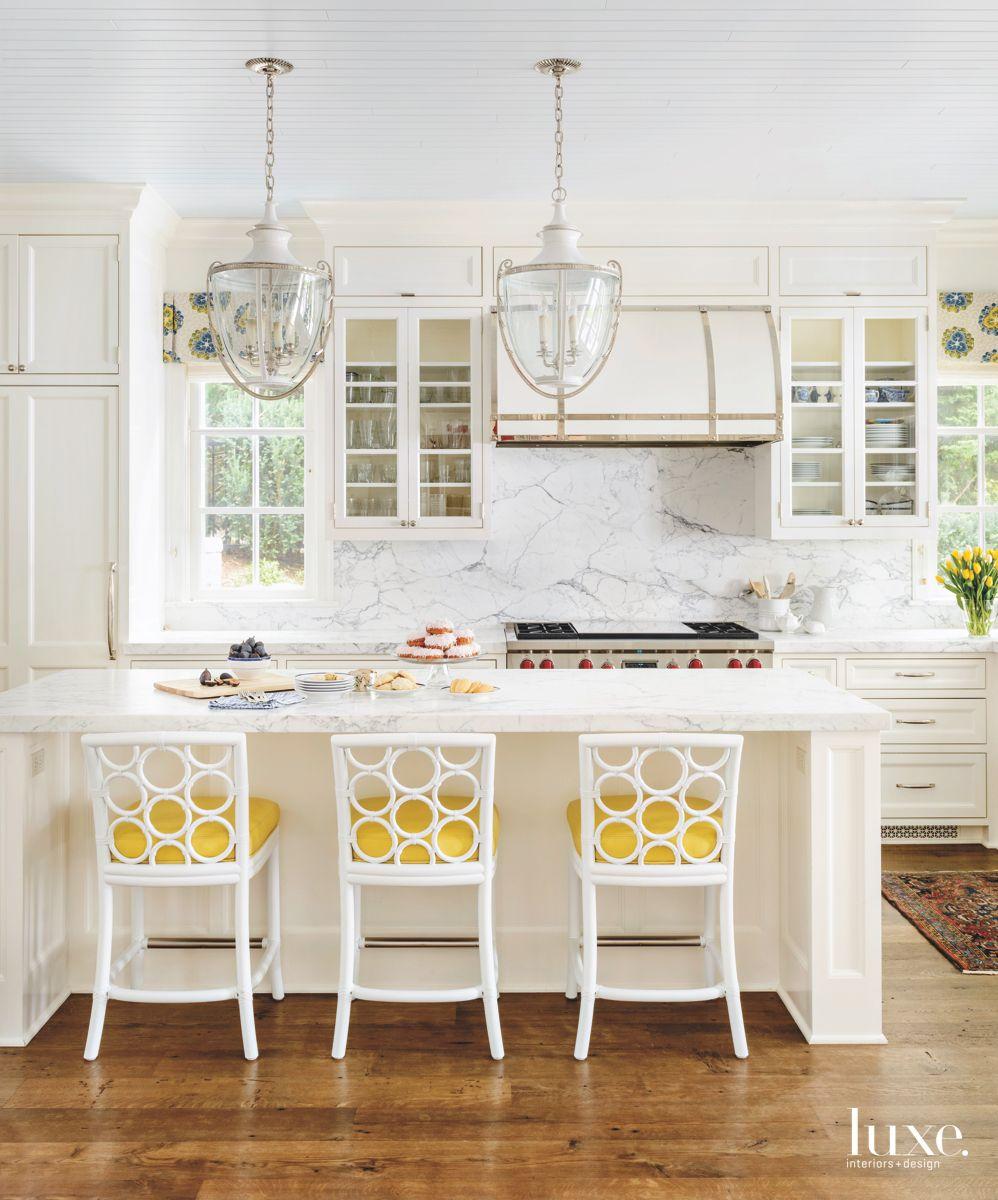 Yellow Seat Cushions All White Kitchen