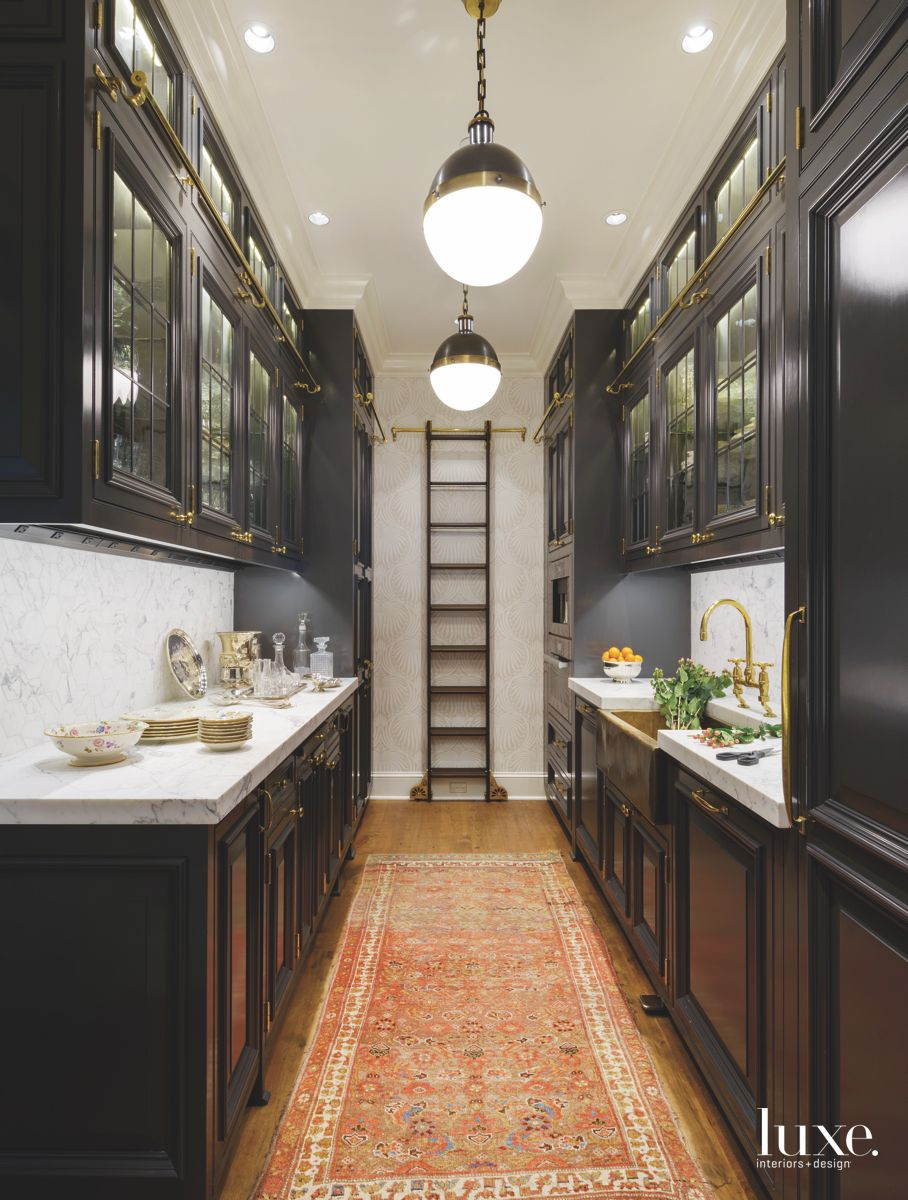 Black and Open Butler's Pantry with Antique Runner
