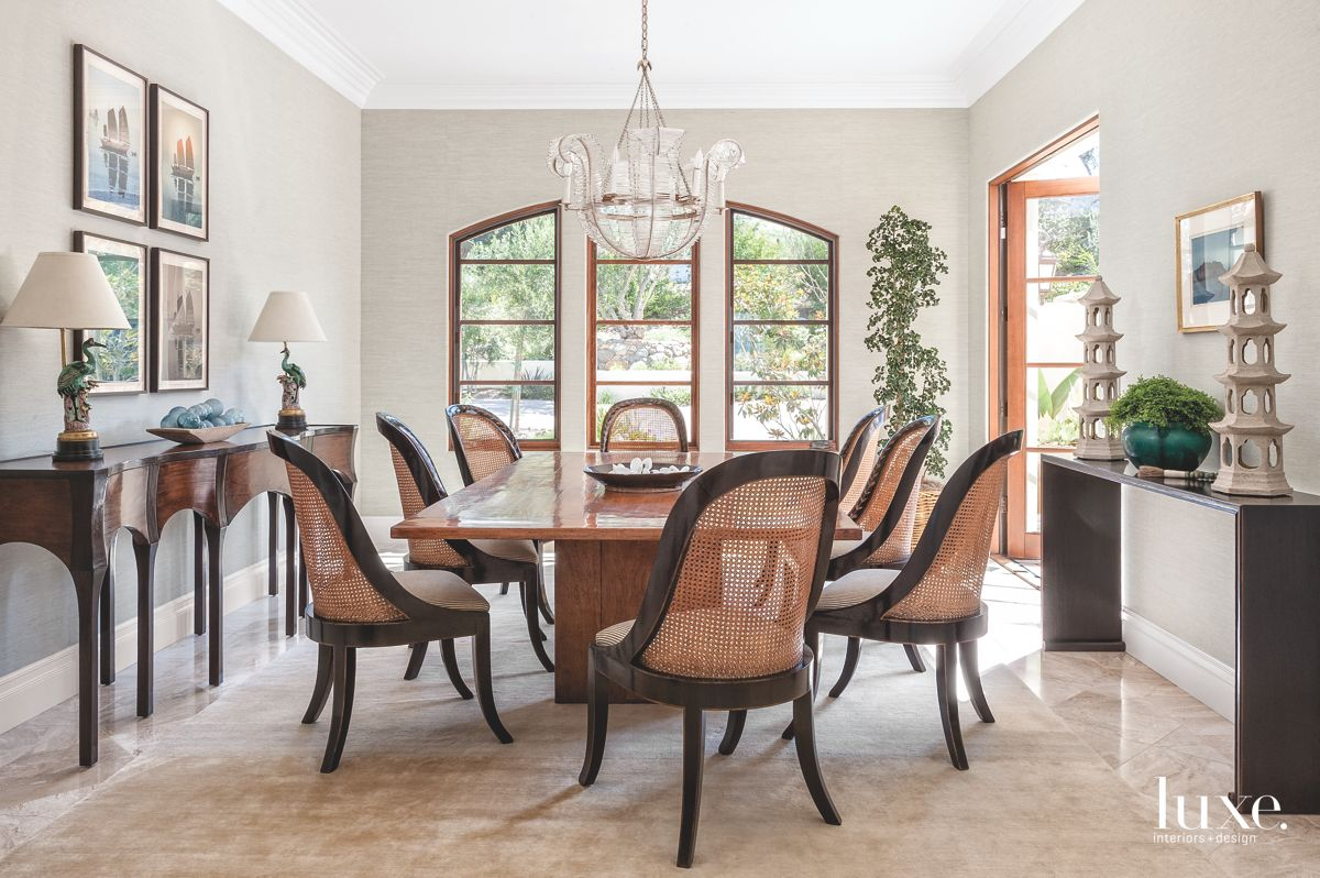 Modern Wicker Chairs in Sunlit Dining Room