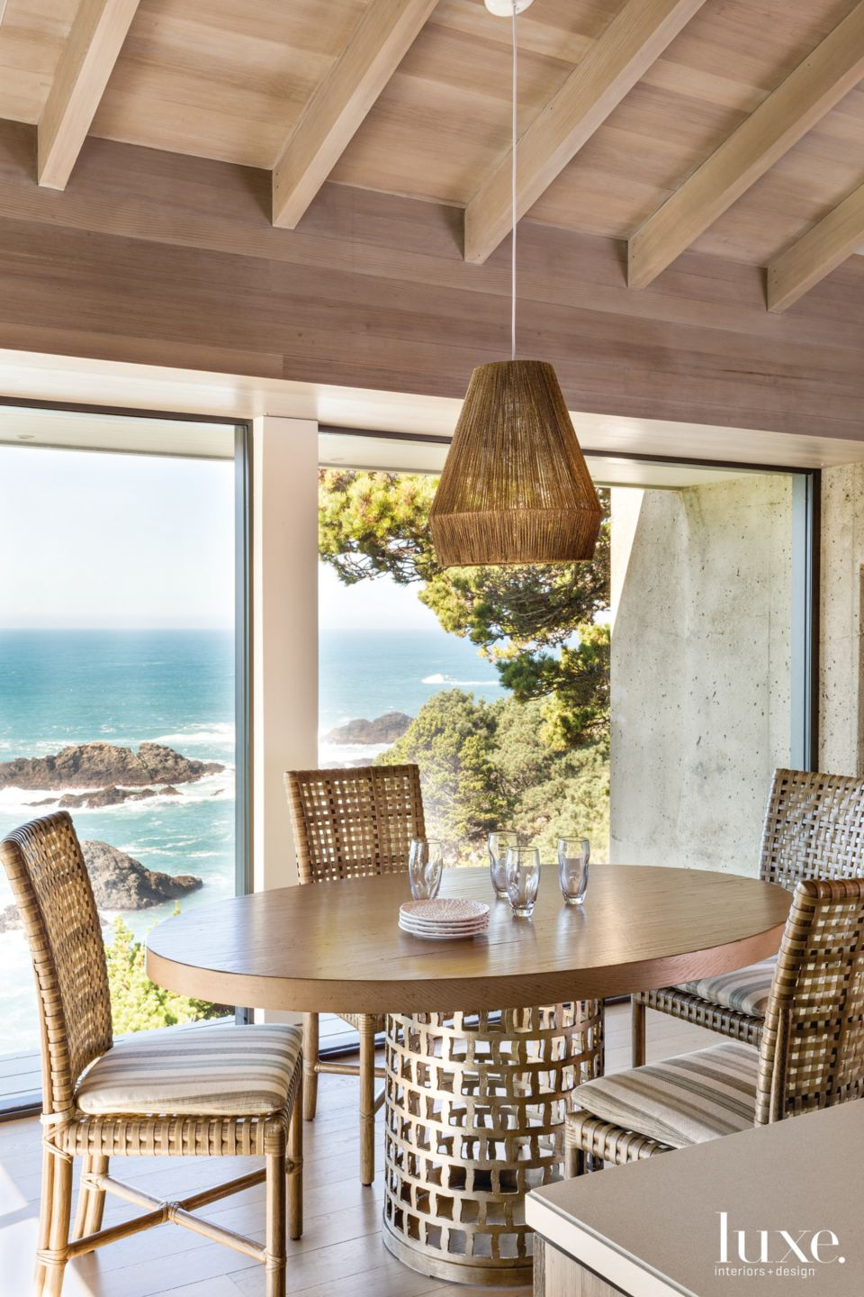 Contemporary Neutral Breakfast Area with Woven Chairs