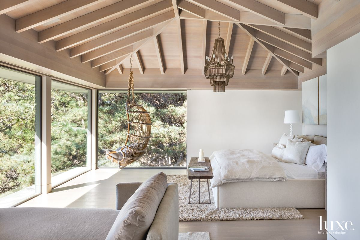 Contemporary Neutral Bedroom with Hanging Chair