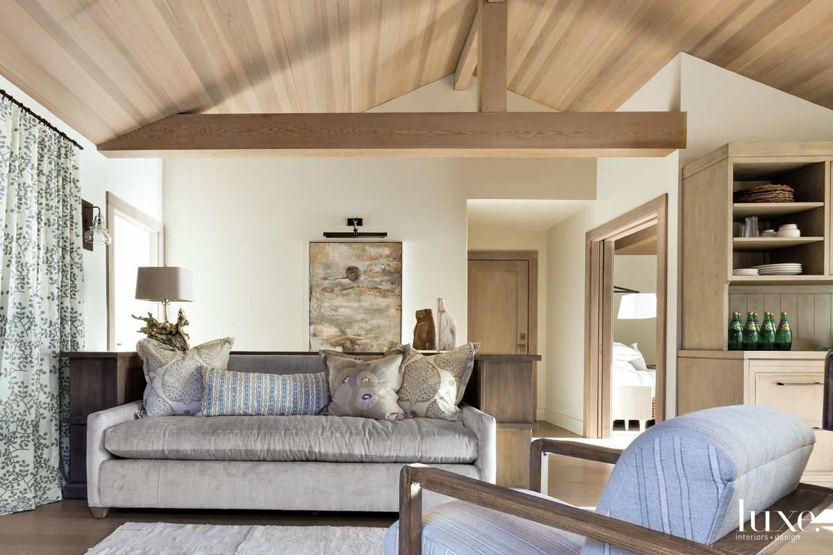 Contemporary Neutral Guesthouse with Wood Ceiling