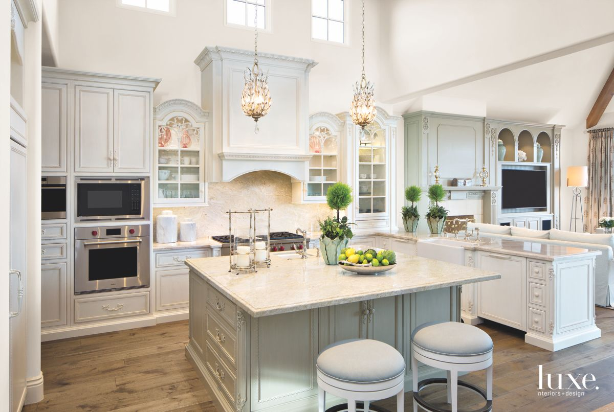 Light Blue Kitchen with Chandelier and High Ceilings