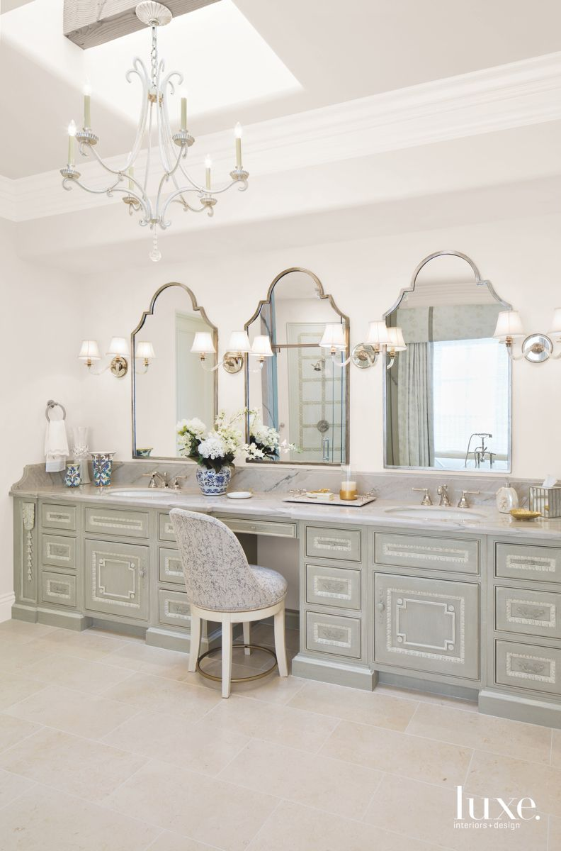 Traditional White Master Bathroom with Mirrors, Stool, and Chandeliers