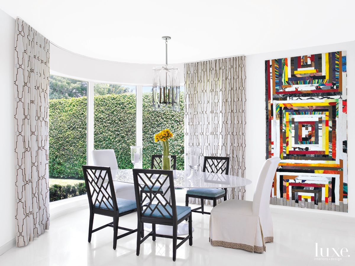 Modern White Dining Room with Bold Artwork