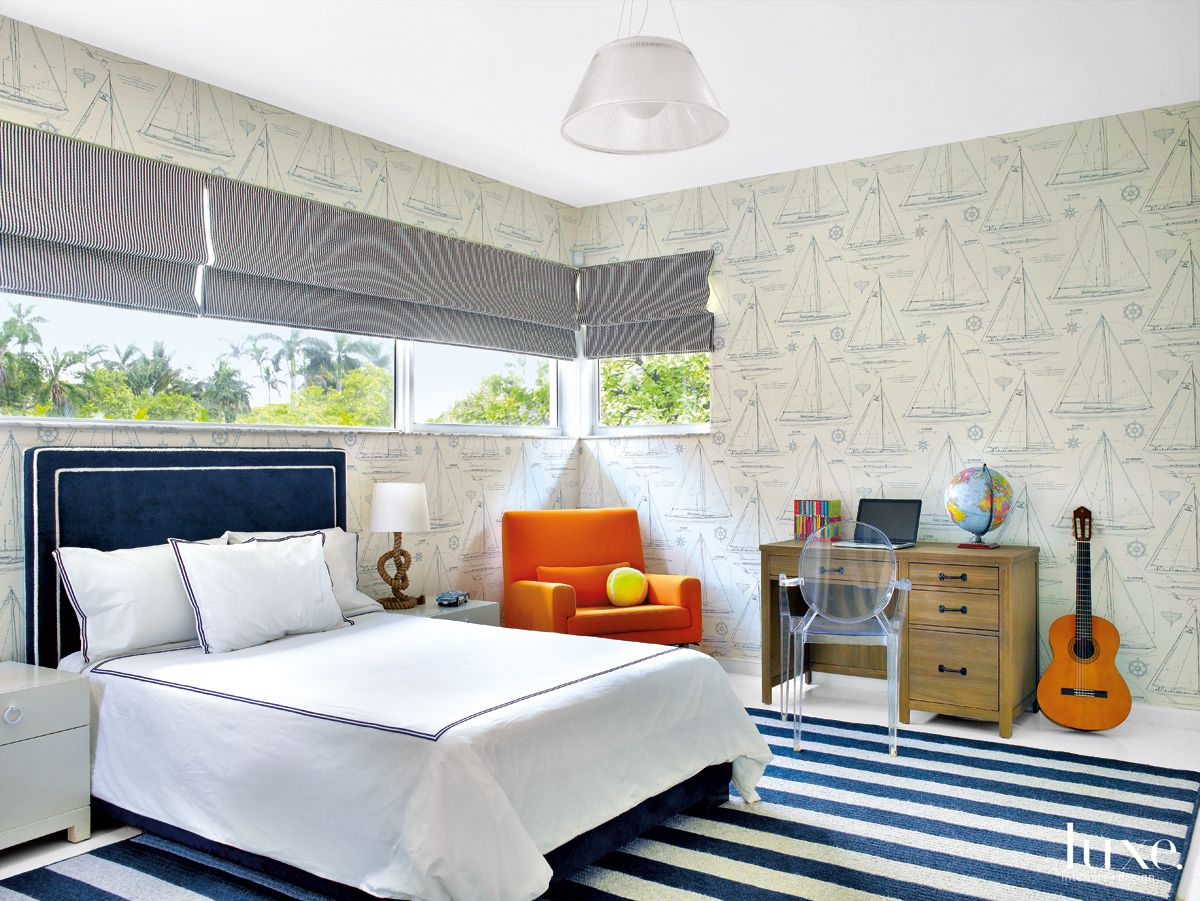 Modern Blue Bedroom with Nautical Theme