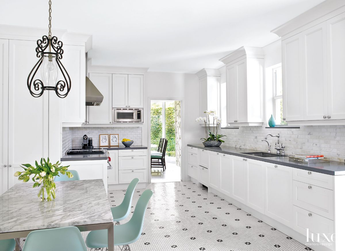 Modern White Kitchen with Mosaic Floor Tiles