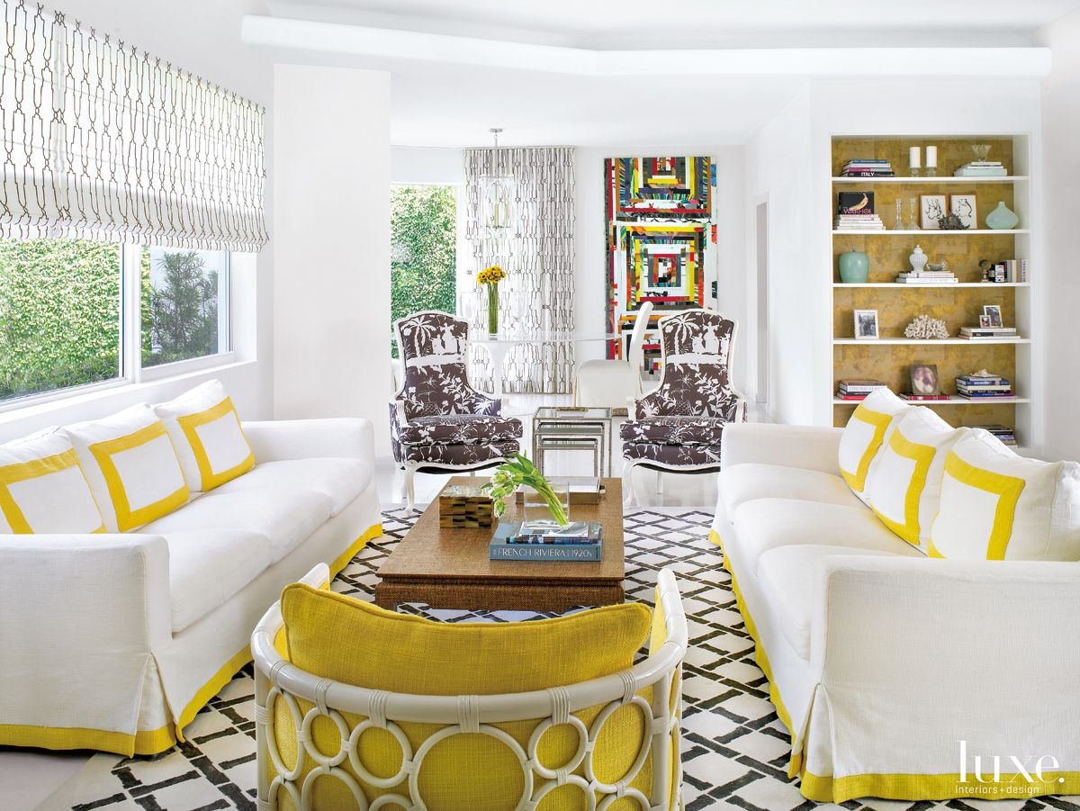 Modern White Living Room with Yellow Accents