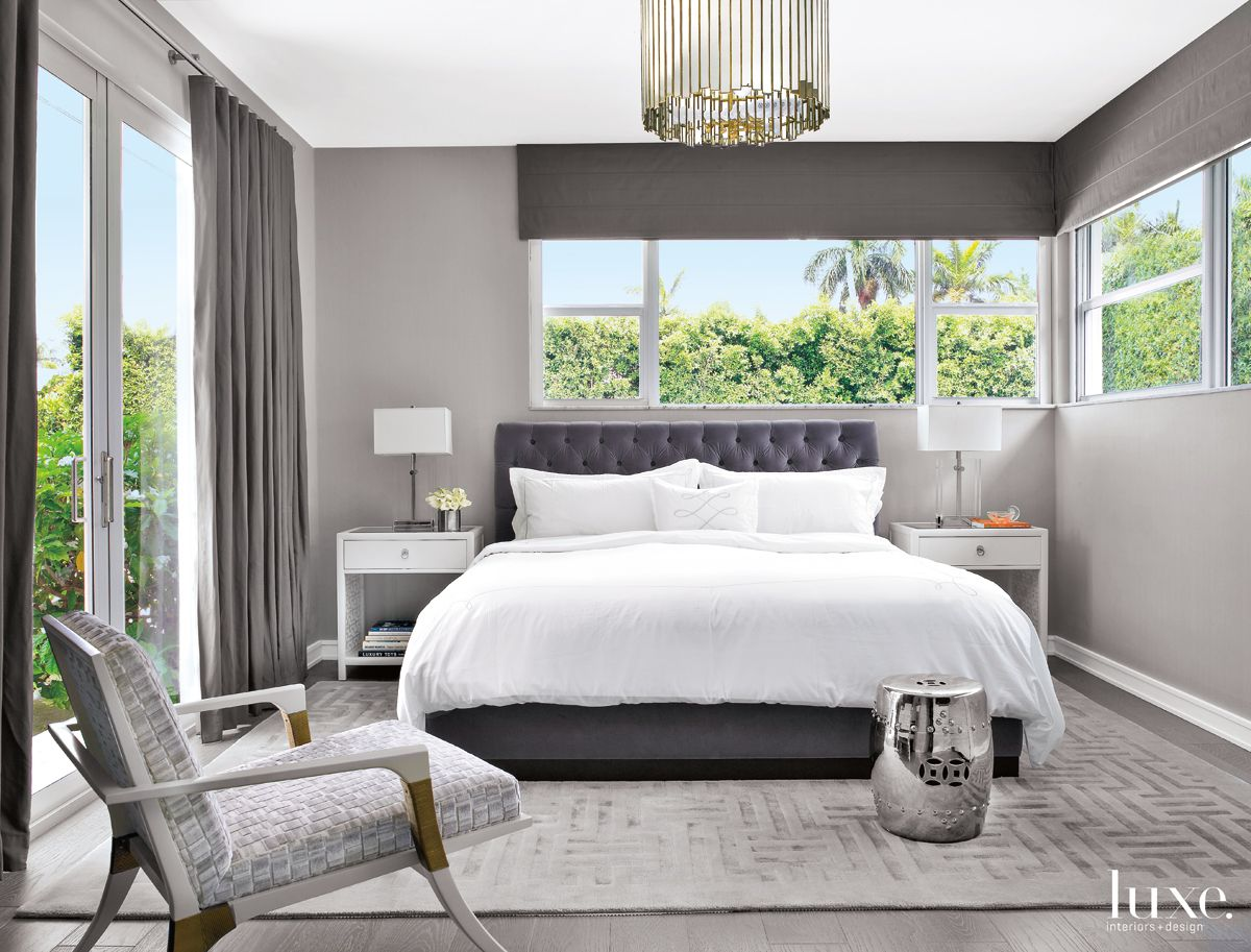 Modern Gray Bedroom with Textured Side Chair