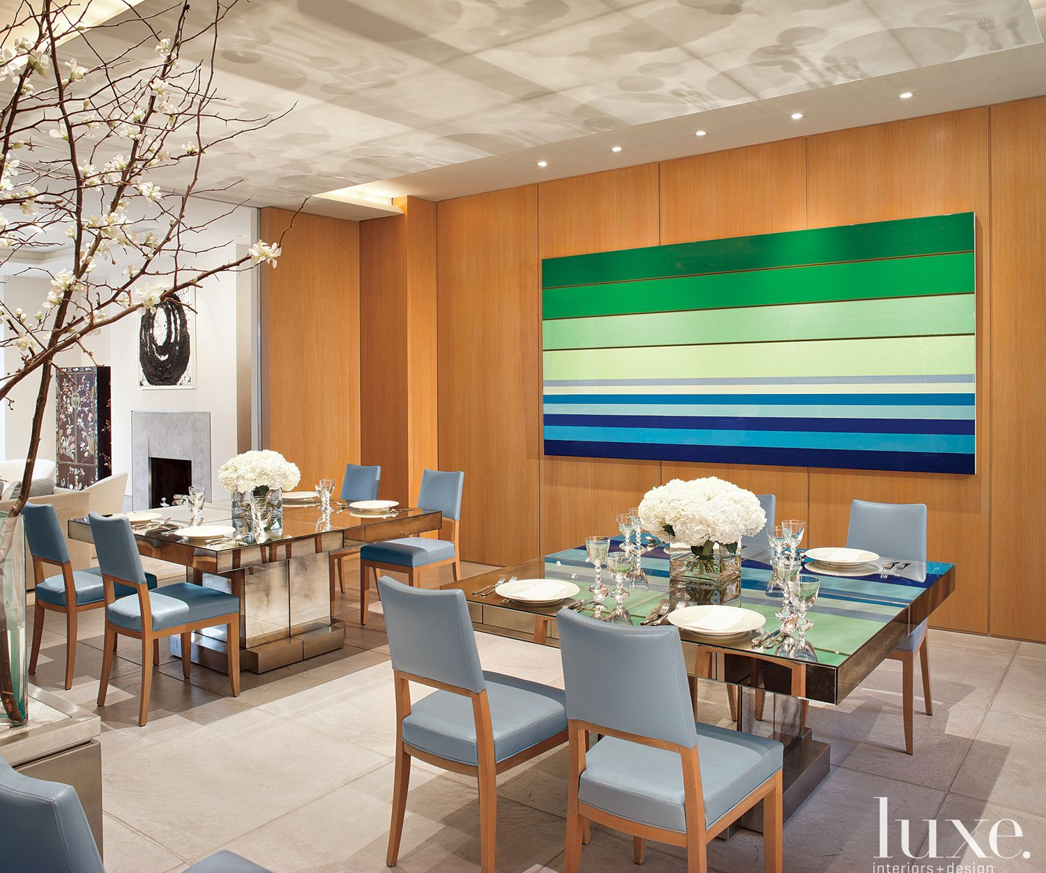 Modern Neutral Dining Room with Blue and Green Accents