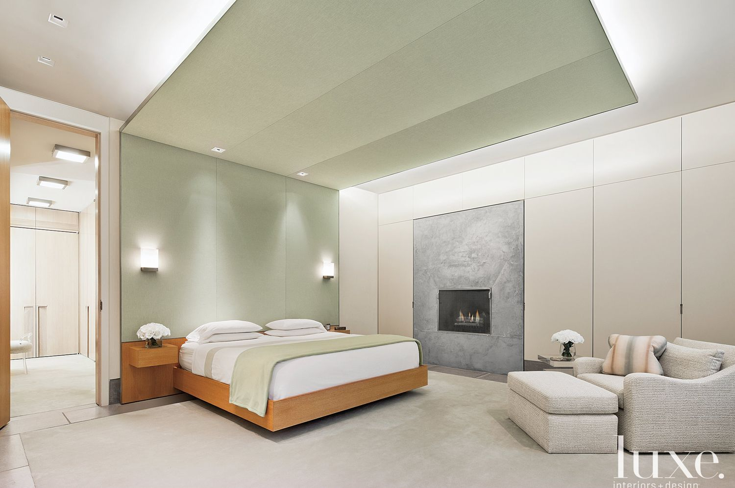 Modern Green Master Bedroom with Cotton Wallcovering